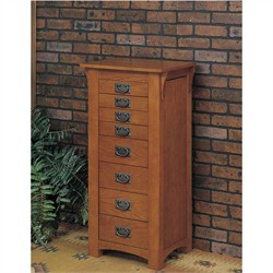 Mission Oak Finish Contemporary Jewelry Armoire Powell Armoires 255