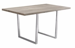 "Dining Table Only - 36""X 60"" / Dark Taupe / Chrome Metal - Monarch Specialty I-1059"