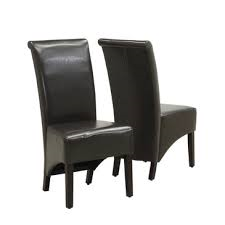"Dark Brown Leatherette 40""H Parson Chair (Set of 2) - Monarch Specialty I-1776BR"