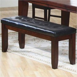 "Dark Oak 48""L Bench w/ A Leatherette Seat - Monarch Specialty I-1832"