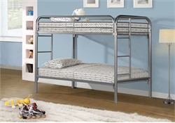 Silver Metal Twin / Twin Bunk Bed Only - Monarch Specialty I-2230S