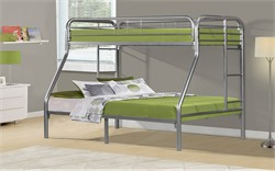 Silver Metal Twin / Full Bunk Bed Only - Monarch Specialty I-2231S