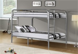 Silver Metal Full / Full Bunk Bed Only - Monarch Specialty I-2233S