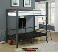 Charcoal Grey Metal Twin Bunkbed W/ Play-Sit-Sleep Area - Monarch Specialty I-2236