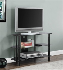 "Black Metal 36""L TV Stand w/ Tempered Black Glass - Monarch Specialty I-2506"