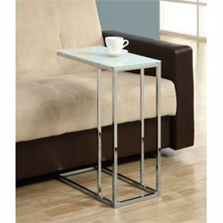 Chrome Metal Accent Table w/ Tempered Glass - Monarch Specialty I-3000