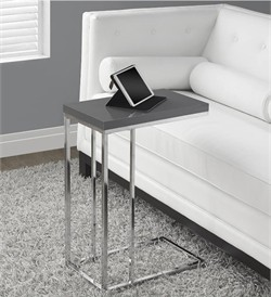 Glossy Grey Hollow-Core / Chrome Metal Accent Table - Monarch Specialty I-3030