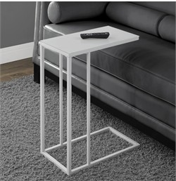 White Metal Accent Table w/ Frosted Tempered Glass - Monarch Specialty I-3037