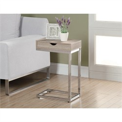 Natural Reclaimed-Look / Chrome Metal Accent Table - Monarch Specialty I-3204