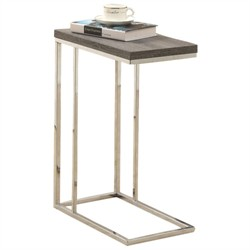 Dark Taupe Reclaimed-Look / Chrome Metal Accent Table - Monarch Specialty I-3253