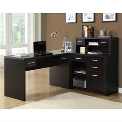 Cappuccino Hollow-Core L Shaped Home Office Desk - Monarch Specialty I-7018