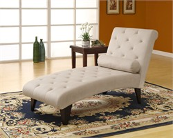 Taupe Velvet Fabric Chaise Lounger - Monarch Specialty I-8032