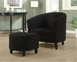 Black Padded Micro-Fibre Accent Chair And Ottoman - Monarch Specialty I-8055