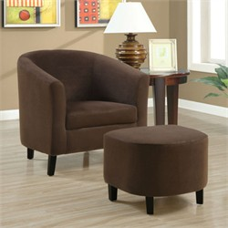 Chocolate Brown Padded Micro-Fibre Chair And Ottoman - Monarch Specialty I-8056