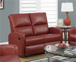 Reclining Loveseat in Red Bonded Leather - Monarch Specialty I-84RD-2