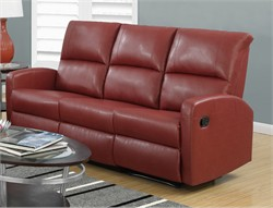 Reclining Sofa in Red Bonded Leather - Monarch Specialty I-84RD-3