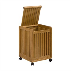 Abingdon Mobile Hamper w/ Lid in Cinnamon Finish - New Ridge 2214-CIN