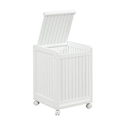Abingdon Mobile Hamper w/ Lid in White Finish - New Ridge 2214-WHT