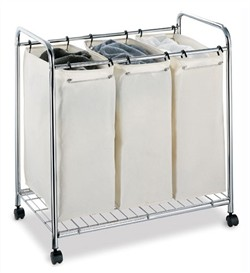 3 Section Laundry Sorter in Chrome Finish - Organize It All 1763