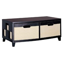 2 Drawer Chest in Brown and Jute Finish Organize It All 29652