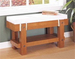 Bench with Cushion in Oak Finish Organize It All 39616
