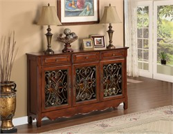 Walnut 3 Door Scroll Console - Powell 246-335
