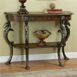 Masterpiece Floral Hand Painted Demilune Console Table Powell 416-225
