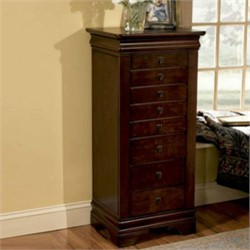 Louis Philippe Jewelry Armoire in Marquis Cherry Finish Powell 508-315