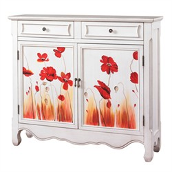 White with Poppies Console - Powell 895-220