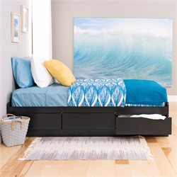 Black Twin XL Mate?s Platform Storage Bed w/ 3 Drawers - Prepac BBX-4105-K