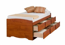 Cherry Tall Twin Captain?s Platform Storage Bed w/ 6 Drawers - Prepac CBT-4106-K