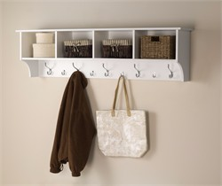 "White 60"" Wide Hanging Entryway Shelf - Prepac WEC-6016"