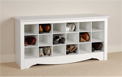 White Shoe Storage Cubbie Bench - Prepac WSS-4824