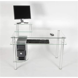 Computer Desk in Glass and Aluminum Finish RTA CT-009