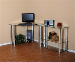 Clear Tempered Glass Corner Computer Desk w/ Extension Table - RTA CT-013142