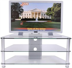 42 Inch Plasma TV Stand in Glass and Aluminum Finish RTA TVM-020