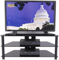 42 Inch Plasma TV Stand in Glass and Black Finish RTA TVM-020B