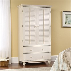 Harbor View Armoire in Antiqued White - Sauder 158036