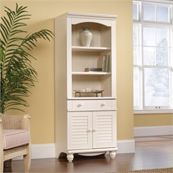 Harbor View Library w/ Doors in Antiqued White - Sauder 158082
