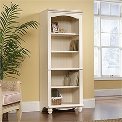 Harbor View Library in Antiqued White - Sauder 158085