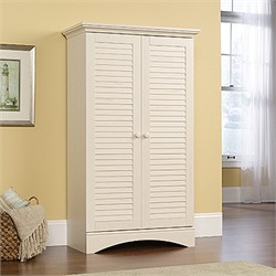 Harbor View Storage Cabinet in Antiqued White - Sauder 400742