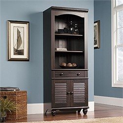 Harbor View Library w/ Doors in Antiqued Paint - Sauder 401632