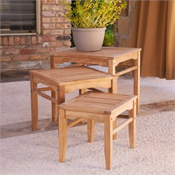 3pc Teak Nesting Table Set - Southern Enterprises CR1210