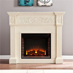 Calvert Carved Electric Fireplace in Ivory - Southern Enterprises FE9279