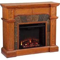 Cartwright Convertible Electric Fireplace in Mission Oak - Southern Enterprises FE9285