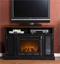 Antebellum Media Electric Fireplace in Black / Walnut - Southern Enterprises FE9305