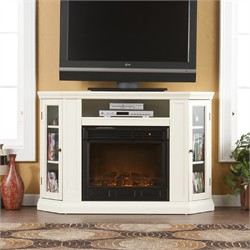 Claremont Convertible Media Electric Fireplace in Ivory - Southern Enterprises FE9314