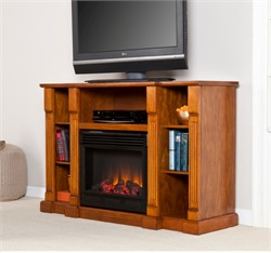 Kendall Media Electric Fireplace in Glazed Pine - Southern Enterprises FE9387