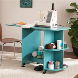 Expandable Rolling Sewing Table/Craft Station in Turquoise - Southern Enterprises HZ8665