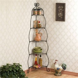 Scrolled Corner Etagere in Black - Southern Enterprises KA9165